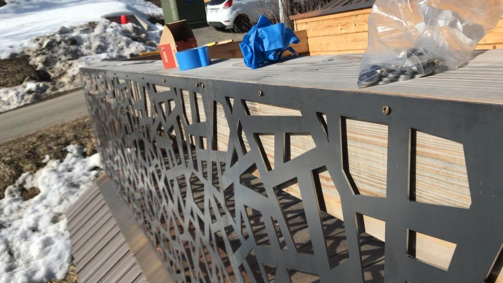 Rambarde décorative en acier corten découpée au laser fibre